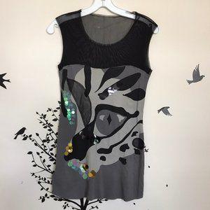 MNG mixed media blouse - cat eye sequins sheet top